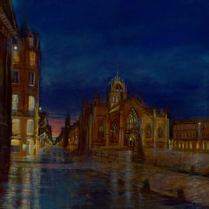 Night reflections at St. Giles Cathedral