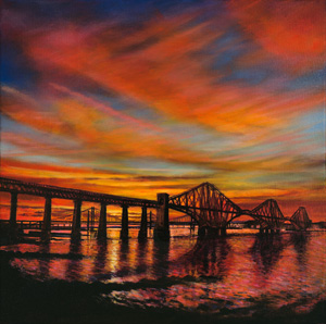 Sunset over The Forth Bridges